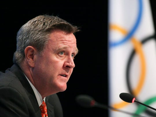 FILE - In this May 24, 2012, file photo, U.S. Olympic Committee CEO Scott Blackmun speaks at the SportAccord conference in Quebec City. Blackmun is resigning as CEO of the US Olympic Committee, citing health problems as the reason he'll depart after leading the federation for more than eight years. The 60-year-old CEO was diagnosed with prostate cancer earlier this winter, and did not attend the Pyeongchang Games. He announced his resignation Wednesday, Feb. 28, 2018, and Susanne Lyons, a member of the board, will serve as acting CEO. (Francis Vachon/The Canadian Press via AP)