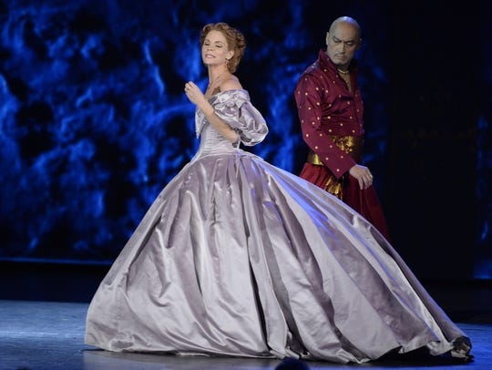 Kelli O'Hara and Ken Watanabe perform with the cast