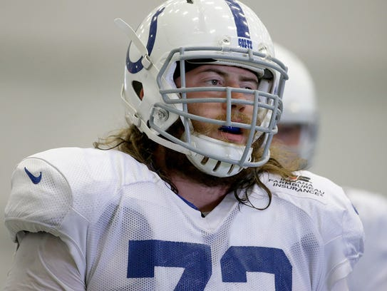 Indianapolis Colts offensive tackle Joe Haeg (73) during