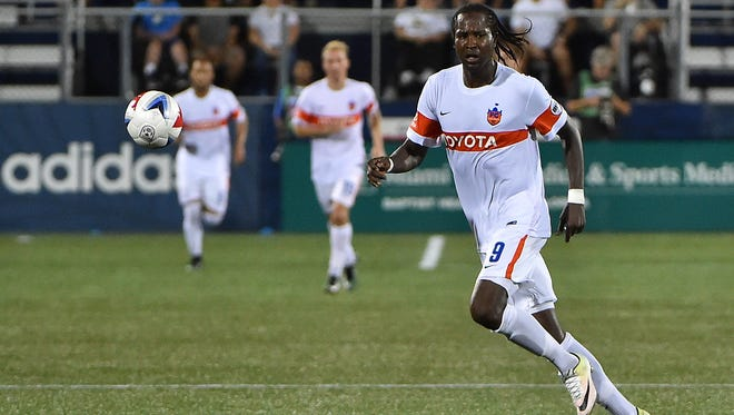 FC Cincinnati forward Djiby Fall (9) chases a loose ball against the Miami FC during the second half of their Lamar Hunt U.S. Open Cup quarterfinal match at Riccardo Silva Stadium.