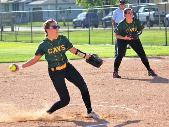 Lena/STAA's Marley Carviou prepares to fire in a pitch in the May 25 regional final with Niagara in Marinette.
