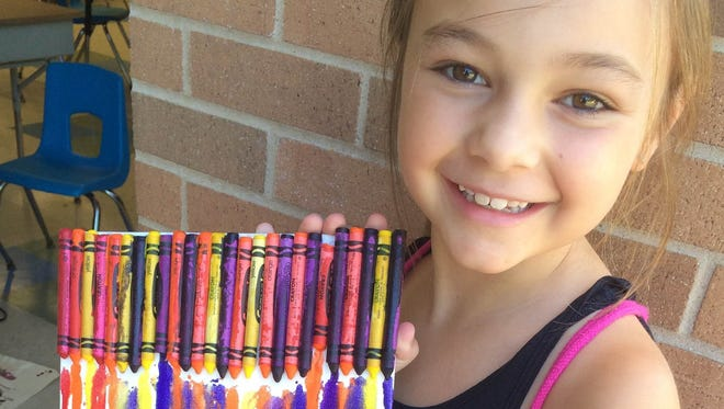 A crayon melt creation with incoming third grader Julia Cagno.