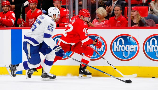 Red Wings rookie forward Martin Frk, who has one of the hardest shots in the NHL, has struggled to find the net after scoring three goals over his first four games.