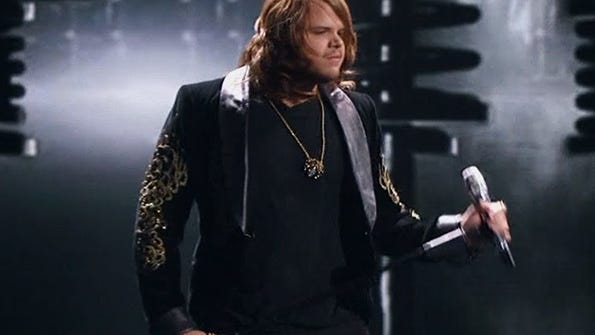 Rocker Caleb Johnson will sing a song from the 1980s on tonight's show. Do we sense a power ballad coming?