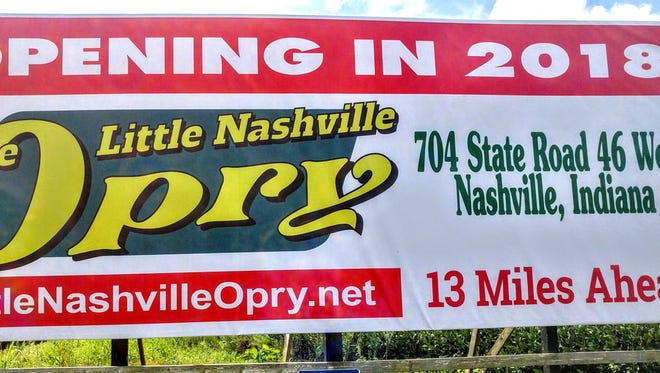 A billboard on Ind. 135 south of Morgantown announces plans for a 2018 opening for a new Little Nashville Orpy music venue. The longtime Brown County landmark was destroyed in a 2009 fire.