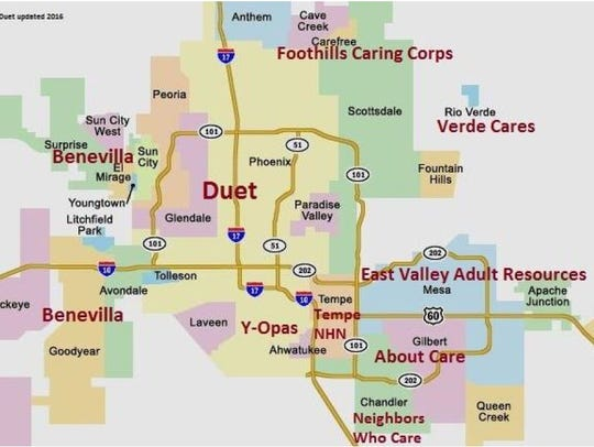 A map of non-profits in Maricopa County that help seniors