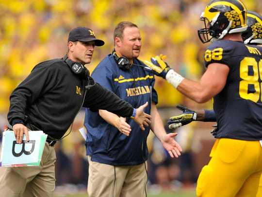Jake Butt and the Wolverines say it took time to understand Jim Harbaugh and his anecdotes.