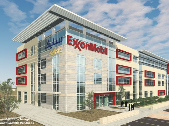 Artist rendering of office building that would occupy Exxon/SABIC's ethylene cracker plant near Portland. A contract was awarded Monday to Bay Ltd. for site preparation on the land.