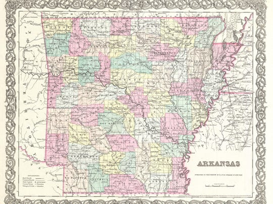 """The 1855 Colton map of Arkansas. Four years later a state law was passed officially stating the pronunciation as """"Arkansaw."""""""