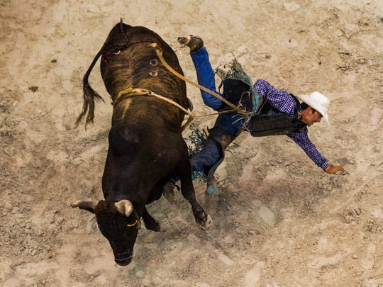 A bull rider falls off of his bull while competing during the second night of the Professional Bull Riders Touring Pro Division at Germain Arena on Saturday, July 29, 2017.