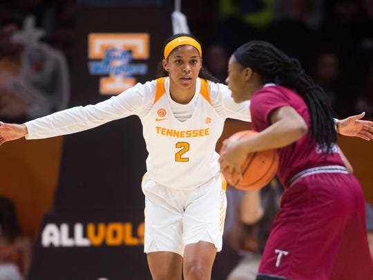 Tennessee guard Evina Westbrook (2) defends a Troy player during a game against the Troy Trojans at Thompson-Boling Arena in Knoxville, Tenn. Wednesday, Dec. 6, 2017.