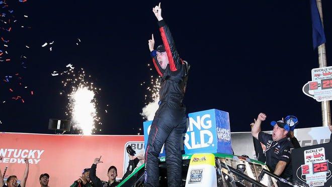Ben Rhodes celebrates his second career Truck Series win.