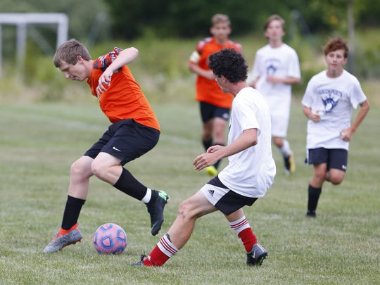 Barnegat United  vs St. Rose during 7 on 7 soccer game at Wall High School. Wall,NJ.  Wednesday, June 27, 2018. n