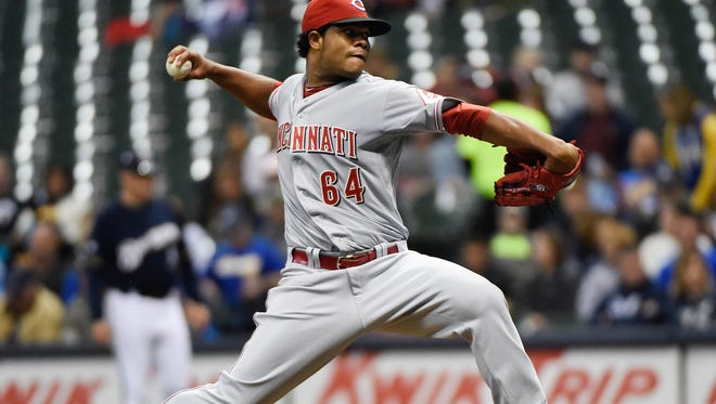 Reds pitcher Daniel Corcino pitches in the first inning Friday against the Milwaukee Brewers at Miller Park.