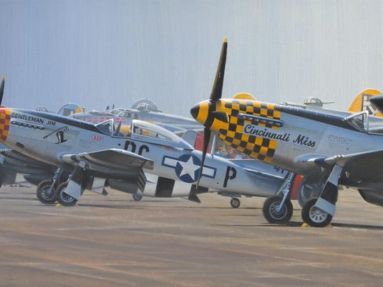 """Flightline,"" showing planes on display at the 2005 Thunder Over Michigan air show at Willow Run Airport, will be on display June 1-July 25, at the James C. Weston Gallery at the Arts Council of Greater Kalamazoo."