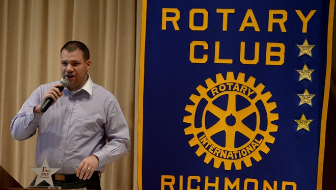 JC Price emcees the 2015 Rotary Club Quiz Bowl at Indiana University East in Richmond. The event is the service organization's biggest fundraiser each year.