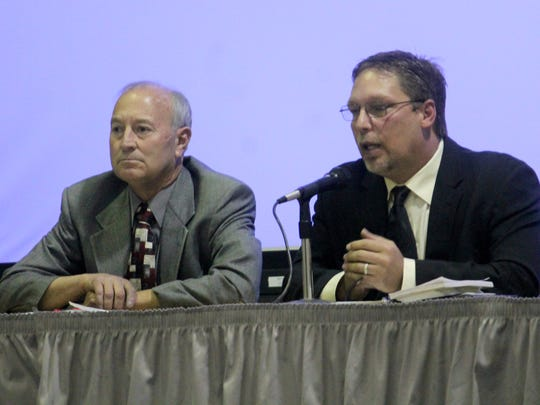 Jeff Ault and Rob Hahn answer questions during the Eagle Forum debate on Thursday evening.