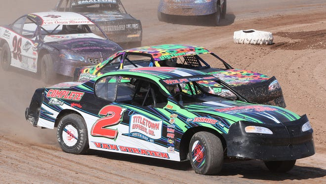 Hortonville's Travis Van Straten (2) should find out in the next day or two if he has won the IMCA stock car national championship.