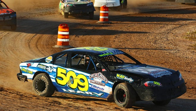 Logan Leary, 15, mixes it up as a rookie in the IMCA stock car division at local dirt tracks in 2017.