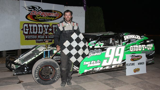 Seymour's Mike Mullen, shown earlier this year after a feature win at Outagamie Speedway in Seymour, will be one of many locals taking on the out-of-state drivers in the Cheesehead races June 22-24. Mullen is a two-time winner of the $10,000-to-win Clash at the Creek at 141 Speedway in Francis Creek.