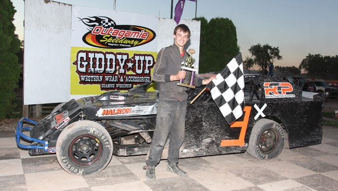 Tailar Ness, along with crew members Kyle Klarkowski and his dad, Greg Ness, rebuilt Ness' 12-year-old sportmod after a violent crash a week ago. The hard work paid off as Ness parked his No. 3 into Victory Lane last Sunday at Outagamie Speedway in Seymour.