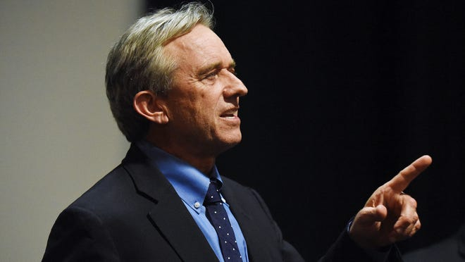 Robert F. Kennedy Jr. speaks following a private screening of a documentary about a mercury-containing preservative in some vaccines on Thursday, March 5, 2015, at Cinebarre in downtown Salem. Kennedy invited Oregon lawmakers to the screening and urged them to vote against a bill that — with an amendment — would eliminate nonmedical exemptions from Oregon's school immunization law.