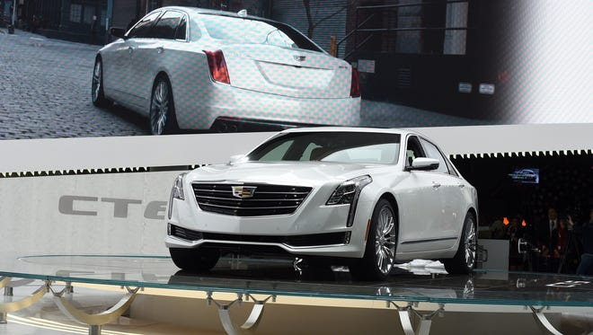 The new 2016 Cadillac CT6 is displayed during media preview day April 1 at the 2015 New York auto show. GM says it developed a welding technique for the CT6 that saves weight and increases efficiency.