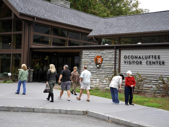 Vistors enter the Great Smoky Mountains National Park Oconaluftee Visitors Center. The center will offer total eclipse viewing Aug. 21.