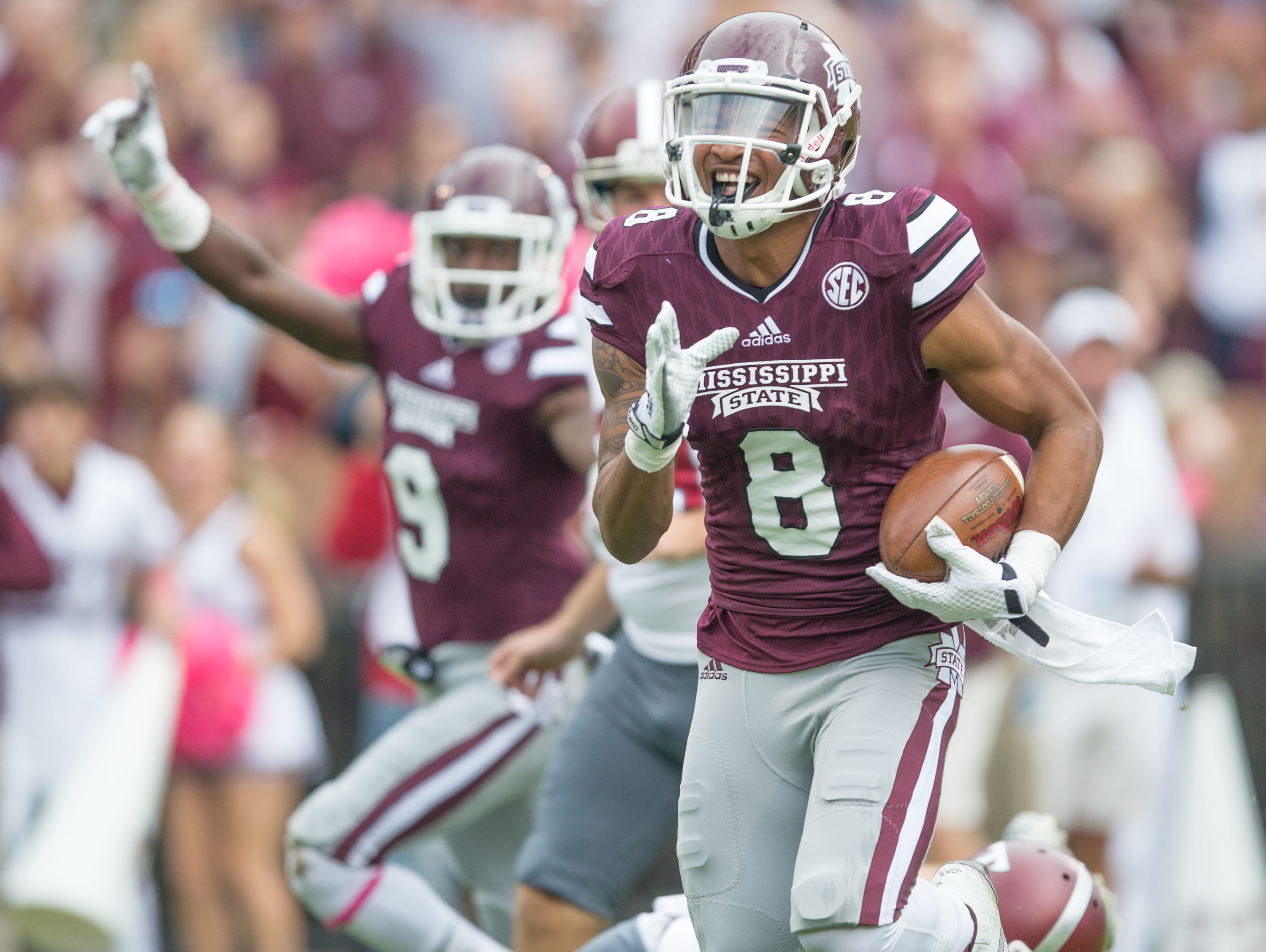 Mississippi State receiver Fred Ross (8) scores a touchdown on a punt return in the first half. Mississippi State played Troy in a college football game on Saturday, October 10, 2015 at Davis Wade Stadium in Starkville. Photo by Keith Warren (Mandatory Photo Credit)