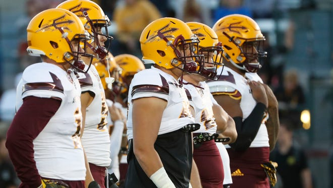ASU's defense lines up for drills during the spring game at Sun Devil Soccer Stadium in Tempe, Ariz. on April 13, 2018.