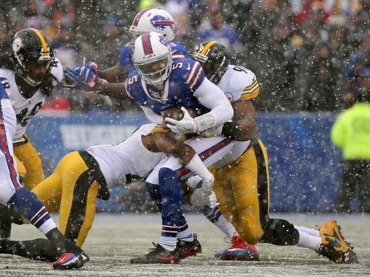 Bills quarterback Tyrod Taylor was sacked five times by the Steelers defense in a 27-20 loss.