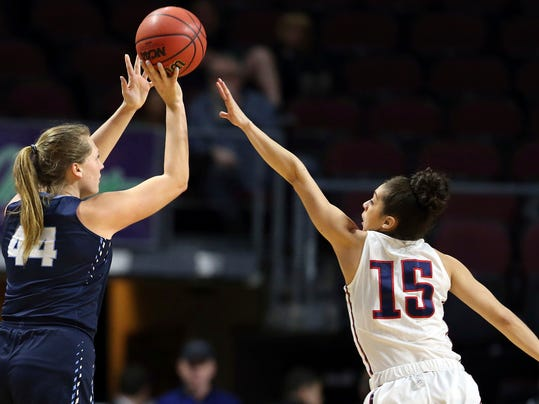 Gonzaga's Jessie Loera (15) covers a shot by San Diego's Sydney Williams (44) during the first half of the West Coast Conference tournament championship NCAA women's college basketball game Tuesday, March 6, 2018, in Las Vegas. (AP Photo/Isaac Brekken)