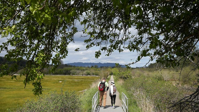 Hikers on the River Estuary Trail at the Theler Wetlands in Belfair on a nice day. LARRY STEAGALL / KITSAP SUN