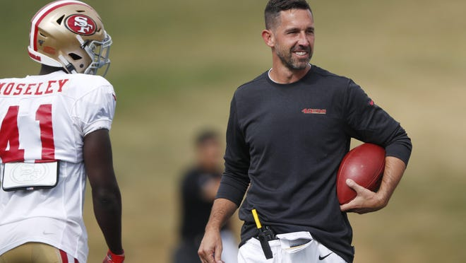 Commissioner Roger Goodell told the 32 NFL clubs on that coaching staffs are allowed to return to team facilities starting Friday. 49ers coach Kyle Shanahan have gotten accustomed to Zoom team meetings. DAVID ZALUBOWSKI/AP