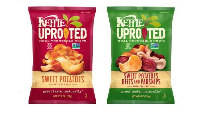The Uprooted chips are made from fresh slices of root vegetables and are certified gluten-free and verified by the Non-GMO Project.