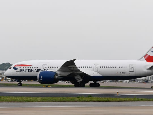 A British Airways 787 taxis across the tarmac at Nashville International Airport for its inaugural arrival and return flight to London Friday, May 4, 2018, in Nashville, Tenn.