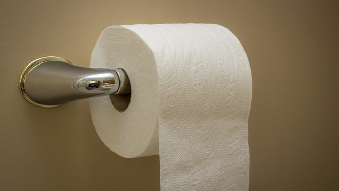 Stock image of a roll of toilet paper.