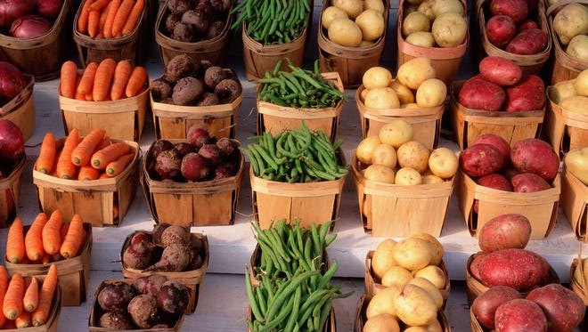 Row of vegetables at farmstand