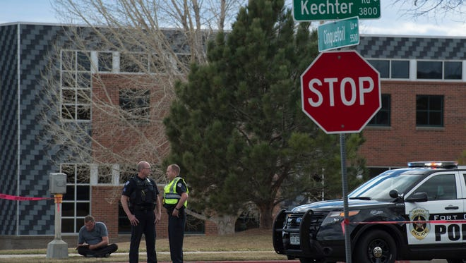 Police block the scene where a 17 year old female was struck by a vehicle on Thursday, March 22, 2018, at the corner of Kechter Road and Cinquefoil Lane in Fort Collins, Colo.
