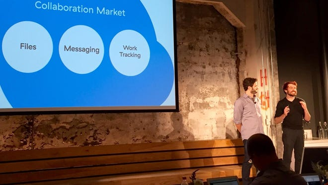 Upgrades to Asana's workplace collaboration software were announced by co-founders Justin Rosenstein, right, and Dustin Moskovitz, a co-founder of Facebook.