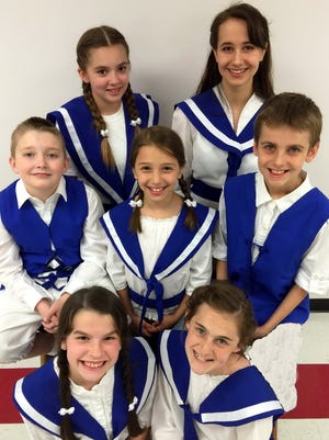 The cast of The Sound of Music — A Christian Adaptation includes, front row, from left, Hayley Woods and Jill Wendefelt, second row, William Justice, Caroline Robinson and Easton Peglar, and third row, Alyssa Eddings and Olivia Wolfe. The Mountain Home Christian Academy and Home Educator students are presenting the play Saturday and Sunday at Dunbar Auditorium.