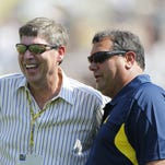 Michigan athletic director Dave Brandon, left, and football coach Brady Hoke, on Sept.  3,  2011.
