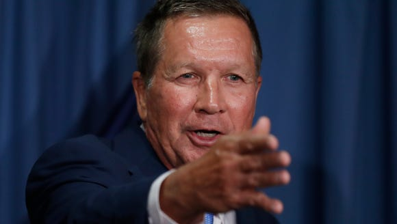 Ohio Gov. John Kasich speaks during a news conference