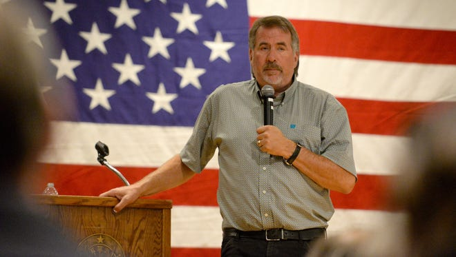File photo - In August 2017, Congressman Doug LaMalfa listens to comments and answers questions during a Town Hall meeting at the Elks Lodge in Chico.