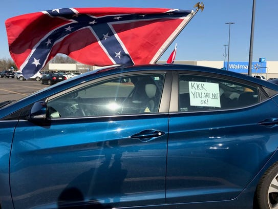 A car parked at the Bartlett WalMart where Confederate