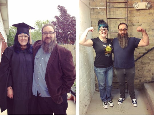 Left: Karen Gasparick, May 2013 after she graduated from MSOE. On the right, Gasparick in 2016 after she lost 130 pounds. Husband James Gasparick also lost 100 pounds.