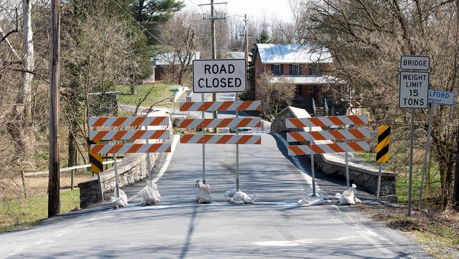 Social Island Bridge is currently closed for repairs due to a crash. The bridge was photographed on TUesday March 22, 2016 in Chambersburg, Pa.