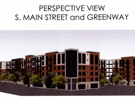 This illustration shows a rough look at what the West End Apartment Homes will look like on South Main Street.