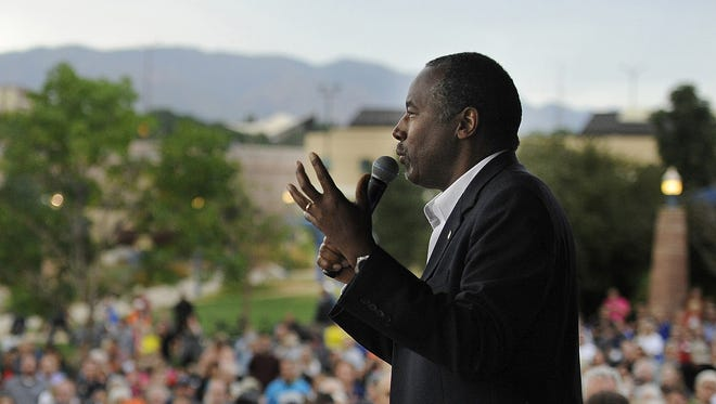 Republican presidential candidate Ben Carson speaks at a rally in Colorado Springs, Colo., on Aug. 27, 2015.