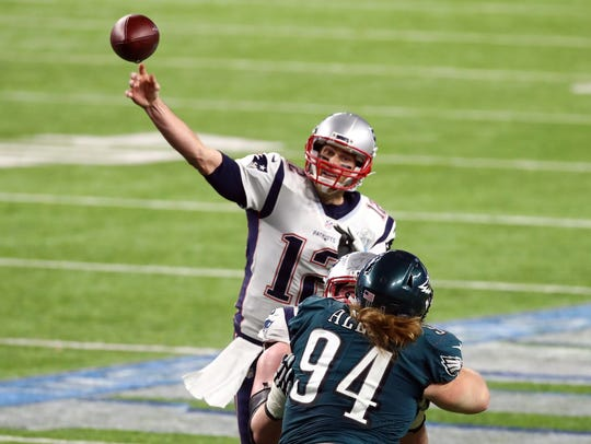 Tom Brady passes against the Eagles during the third quarter in Super Bowl LII on Feb. 4, 2018 in Minneapolis.